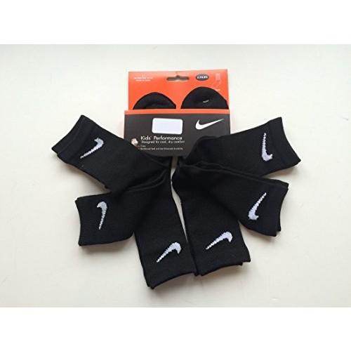 Nike Unisex 6 Pairs/Pack Crew Socks, 13C-3Y, Solid Black
