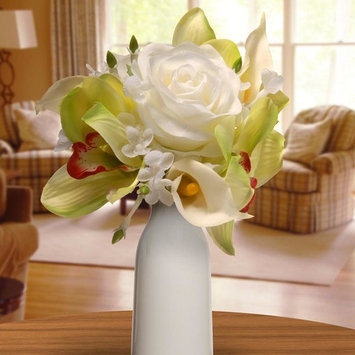 10.25 in. White Rose and Calla Lily Bouquet