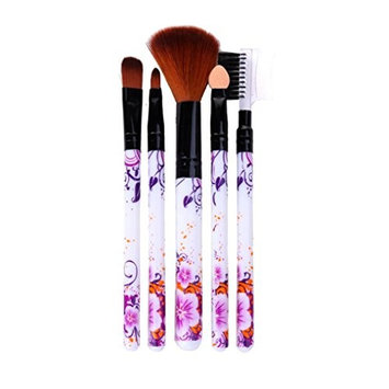 Leoy88 5Pcs Concealer Brushes Powder Blush Brush Set Tool Purple