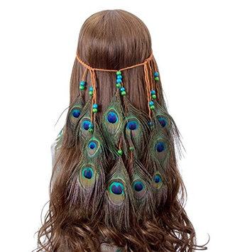 JKLcom Peacock Feather Headband Weave Headpieces Bohemia Tribal Indian Hippie Headpiece Hair Decoration for Masquerade Fancy Dress Carnival Festival ,Adjustable Length