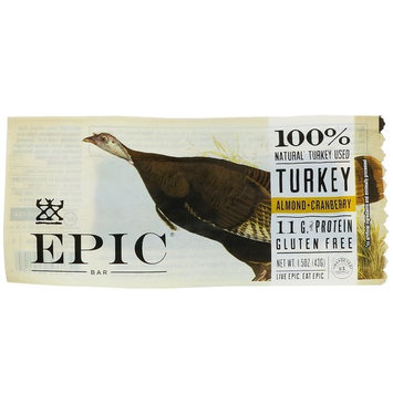 Epic Bar, Turkey, Almond + Cranberry Bar, 12 Bars, 1.5 oz (43 g) Each [Flavor : Turkey, Almond + Cranberry]