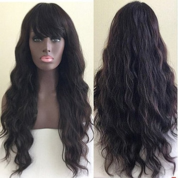 Freyja Hair 8A Unprocessed Brazilian Glueless Full Lace Wigs for Black Women Vogue Body Wave with Bangs 180% Density Human Hair Lace Wigs with Baby Hair (24 inch,1B)