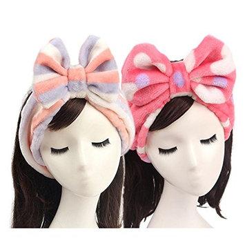 2 PCS Size Sweet Super Soft Caroset Wash Cosmetic Headband (Red Dots&Pink Dots)