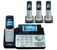 Vtech DS6151 + (3) DS6101 2 Line Expandable cordless phone w/ 3 additi
