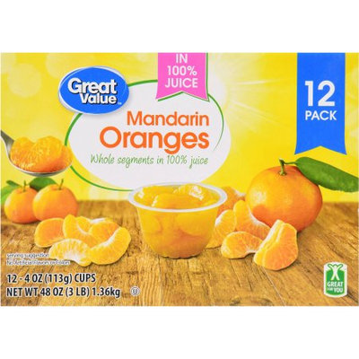 Great Value Mandarin Oranges In 100% Juice, 12 - 4 oz cups