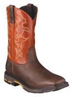 Ariat Workhog Sq Toe Western Work Boots Dark Earth Mens