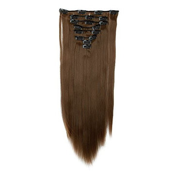 FIRSTLIKE Fashion Stylish Long Straight Clip in on Hair Extension 23 Inch Light Brown for Women Ladies