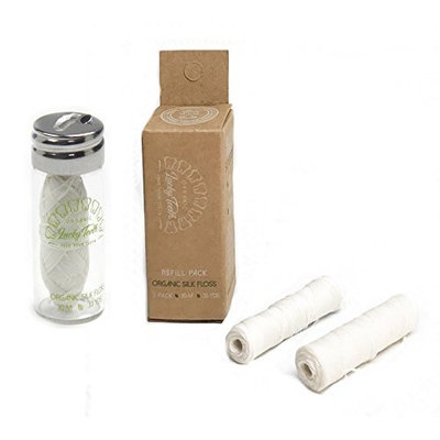 Organic Silk Floss in Glass Jar + REFILLS with Tea Tree and Peppermint essential oils 90 m/99 yds total - by Lucky Teeth (1+2 Pack)