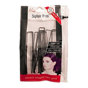 Mia Sqhair Pins-Square Shaped Bobby Pins For The Hair-For Long And/Or Thick Hair-Brown Color-Each Measures 2.5