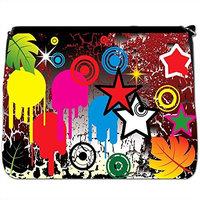 Emo Youth Cool Grunge Look Paint Splashes Stars Black Large Messenger School Bag [Emo Youth Cool Grunge Look Paint Splashes Stars]