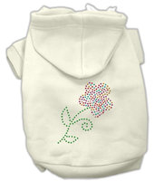Mirage Pet Products 5449 SMCR MultiColored Flower Rhinestone Hoodie Cream S 10
