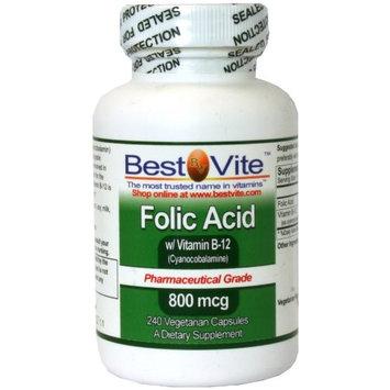 Bestvite Folic Acid 800mcg with B-12 (240 Vegetarian Capsules)