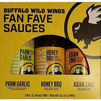 Buffalo Wild Wings Fan Fave Sauces - Parmesan Garlic, Honey BBQ, Asian Zing (3-16 oz Bottles Total)