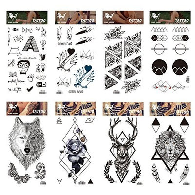 Long lasting and realistic temp tattoo stickers 8pcs cartoon and totem in a packages,including totem Graphics,,black rose,flowers deer,wolf,tiger
