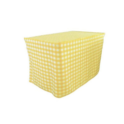 LA Linen TCcheck-fit-96x30x30-LghtYellowK99 Fitted Checkered Tablecloth White & Light Yellow - 96 x 30 x 30 in.