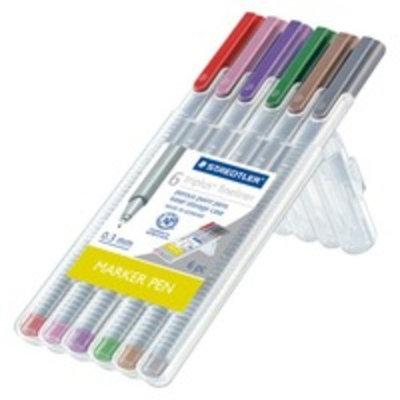 Staedtler 6ct Black Fine tip Felt tip Marker Pen