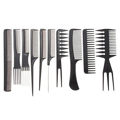 1 Set (10 Pcs/Set) Combs Hairbrush Salon Barber Comb Professional Hair Brushes Anti-static Care Styling Tools Combo Pocket Long Round Handle Holder Stylish Popular Beard Brush Natural Kids Travel Kit