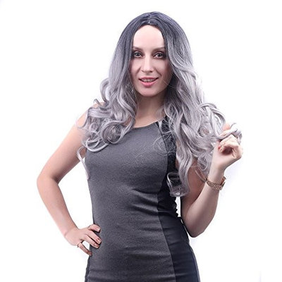 Women Fashion Lady Middle Part Big Wave Granny Gray Wig Curly Hair