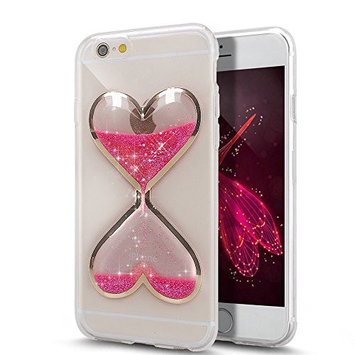 Urberry Iphone 6s/6 Case, Clear Gel Liquid Case, Sparkle Love Heart, Creative Design Flowing Liquid Floating Luxury Bling Glitter Sparkle Hard Case for iPhone 6s/6 4.7 inch with a Screen Protector