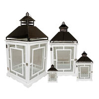 Set of 4 Cottage Style White Wooden Lanterns with Silver Handles 13-35