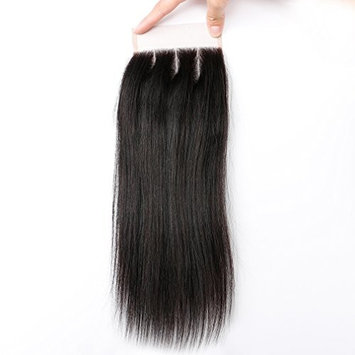 Goldfinch 4x4 inches Brazilian Straight Lace closure 100% Unprecessed Human Hair Extensions 16 inches Three Part Lace Closure