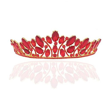 Frcolor Tiara Crown, Bridal Crystal Rhinestone Crown Queen Pageant Crowns Princess Crown Red