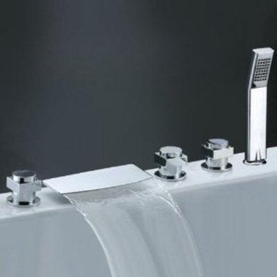 Annie Factory drop-ship Three Handles Chrome Widespread Waterfall Bathtub Faucet with Handheld Showerhead