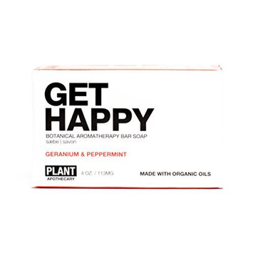 Get Happy Organic Bar Soap - Geranium & Peppermint by PLANTAPOTHECARY for Unisex - 4 oz Soap