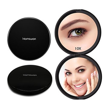 Magnifying Compact Mirror 10X Magnification - Hamswan Pocket Mirror 2-sides, Handheld Magnified MakeUp Mirror for Travel