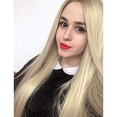SeraphicWig New Style 2 Tones Ombre Blonde Lace Front Wigs for Women Long Straight Blonde Roots Synthetic Wig Women's Heat Resistant Fiber Hair Half Hand Tied 24 inches