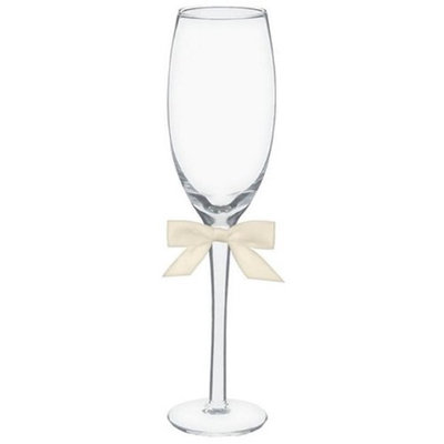 Amscan 100022 Toasting Glasses - Basic With Ivory Bow - Pack of 4