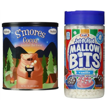 Stephen's Gourmet S'mores Hot Cocoa (1 Pound) Bundle with Kraft Jet-Puffed Vanilla Marshmallow Bits