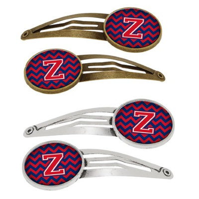 Letter Z Chevron Yale Blue and Crimson Set of 4 Barrettes Hair Clips CJ1054-ZHCS4