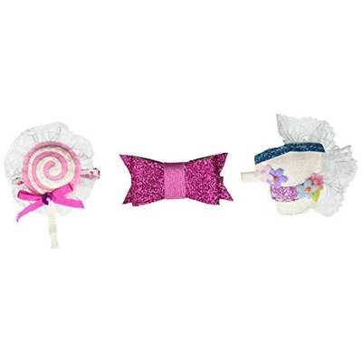 Lily and Momo 3 Pack Hair Clips Glitter Bow Pink, Fancy Cake, Lollipop and Lace