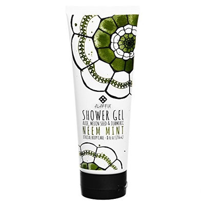 Alaffia - Neem Turmeric Shower Gel, Gentle Body Wash to Help Cleanse and Revitalize Skin with Shea Butter, Aloe Vera, and Melon Seed, Fair Trade, Neem Mint, 8 Ounces