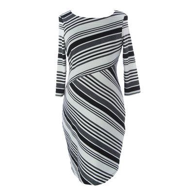 JULES & JIM Maternity Women's Striped Sweater Dress Medium Black/White/Grey