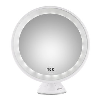 Easehold 10X Magnifying LED Lighted Vanity Mirror Makeup Countertop Bathroom Use 360? Rotation with Wall Mounted Locking Suction Cup, Round