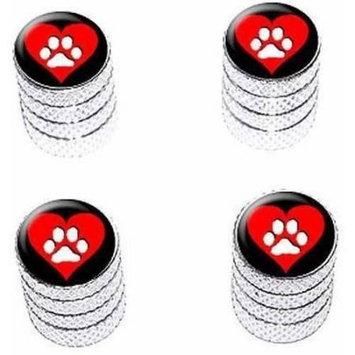 Graphics And More Paw Print Heart Dog Cat Love Tire Rim Wheel Aluminum Valve Stem Caps, Multiple Colors