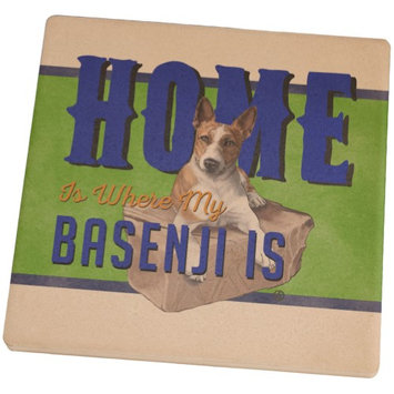 Animal World Home is Where My Basenji Is Square Sandstone Coaster