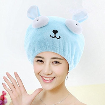 Adjustable Plush Cute Big Eyes Baby Hair Drying Hat Soft Baby Shower Hat Protect Baby Cap Quick Dry Hair Drying Cap Towel Head Wrap Hat Cute Strong Absorbing Hair Cap for Adult,Blue