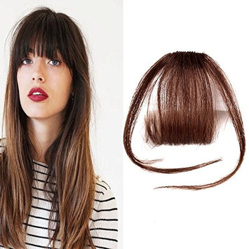 HIKYUU Light Brown Thin Bangs Hair Extensions Clip in Human Hair Fringe Bangs with Temples Clip on Real Hair Thin Neat Air Front Fringe Bangs