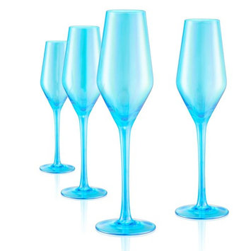 8 oz. Champagne Flute in Turquoise (Set of 4)