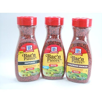 McCormick Bac'n Pieces,Bacon Bits,4.4oz.(Bundle of 3) Includes1-Bacon Flavored Bits,1-Peppered Flavored Bits,1-Applewood Smoked Bacon Flavored Bits