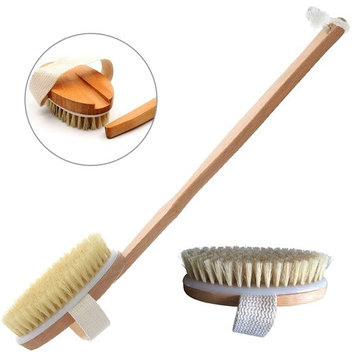 Long Handle Shower Brush With Bristle & Removable 11-Inch Wood Handle ,Clear Body Skin