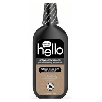 Hello Activated Charcoal Natural Fresh Mint + Coconut Oil Mouthwash - 16 fl oz