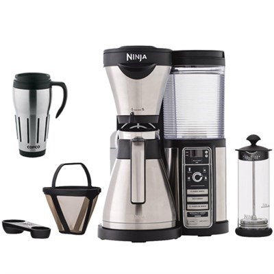 Ninja CF086 Coffee Bar Brewer Bundle w/ Thermal Carafe, Milk Frother, and Travel Mug