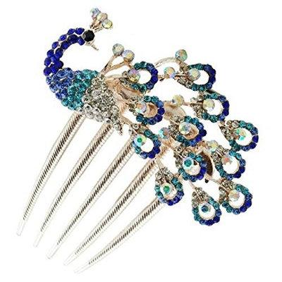 Sanwood Hair Styling Tools Rhinestone Peacock Decorative Hair Side Combs