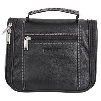 Pierre Cardin 100% Leather Hanging Travel Washbag Toiletry Bag - Black