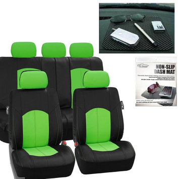 Fh Group Faux Leather Car Seat Covers Classic Set Green Black Free Gift Dash Grip Pad