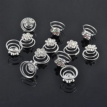 Chris.W 12Pcs Spiral Hair Pins Swirl Hair Twists Coils Hair Clip Accessories for Wedding, Prom, Party and Special Event(Crystal)